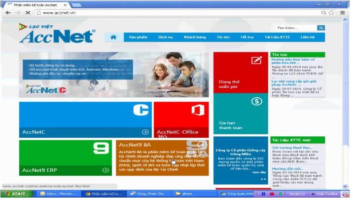 Phần mềm kế toán Accnet.