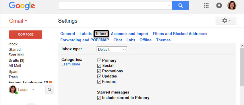 Gmail Inbox Settings screen