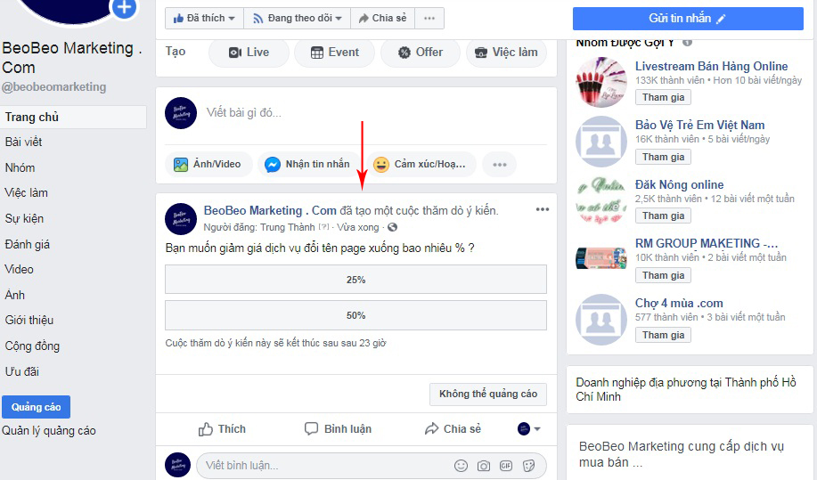 cách làm vote trên facebook