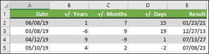 Dùng hàm DATE để thêm hoặc trừ năm, tháng hoặc ngày đến/từ một ngày.