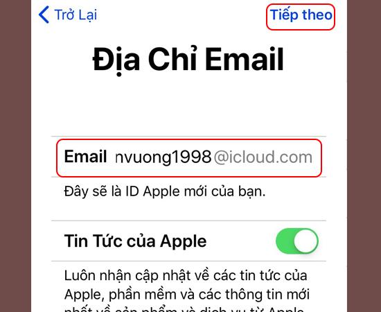 Bước 4: Chọn Nhận email iCloud miễn phí -> Nhập tên tài khoản email bạn muốn tạo -> Chọn Tiếp theo.