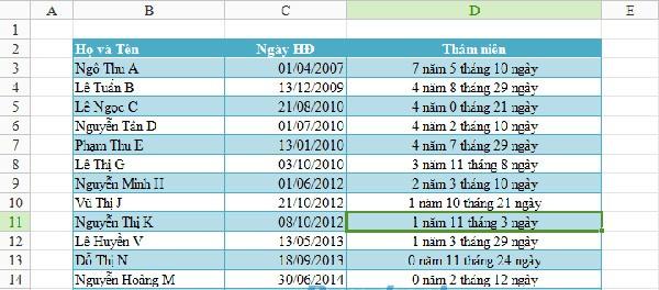 Hàm Cộng Ngày Tháng Trong Excel