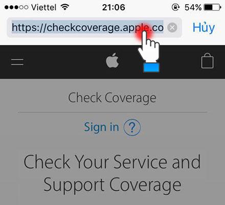 Truy cập vào website của Apple